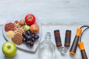 picture of food and exercise equipment used to help thyroid