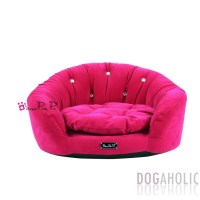 Pretty Pet Velvet Round Couch Bed in Hot Pink - Dogaholic