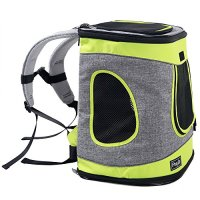 """Petsfit 17""""H x13""""L x11""""D Inches Comfort Dogs Carriers Backpack Grey And Green Trim,Hold Pets Up To 15 LBS,Go For A Walk, Hiking And Cycling"""