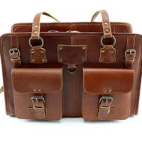 Designer Leather Dog Carrier Brown 2 Pocket Purse Tote by Midlee
