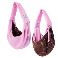iPrimio Dog/Cat Hands Free - Reversible Sling Carrier Bag / Papoose. Super Soft Pouch and Tote - Pink
