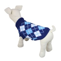 Pet Plaid Knitwear Sweater Dog Clothes Blue