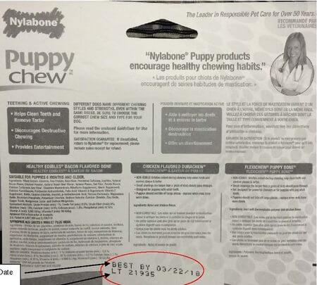 Nylabone Puppy Starter Kit Recall Label