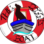 "The Doggie Boat logo. A Black Labrador standing on the bow of a blue and red narrow boat, inside a life ring the ""The Doggie Boat"" written on it."
