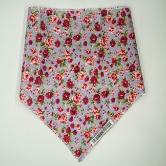 Floral Print Pink Roses on Lavender Medium Bandana