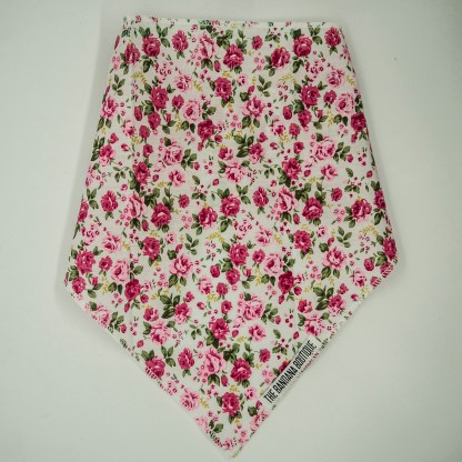 Floral Print Pink Roses on White Small Bandana