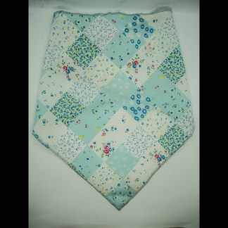Patchwork Floral Blue White Large Bandana