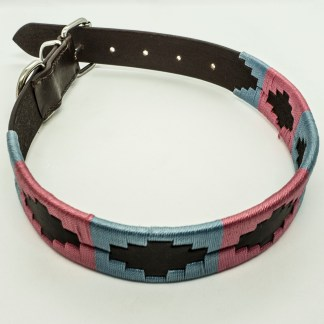 Pink and Sky Polo L Leather Collar