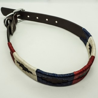 Red White and Blue Polo XLS Leather Collar