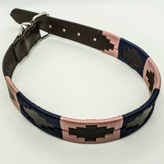 Salmon and Navy Polo L Leather Collar