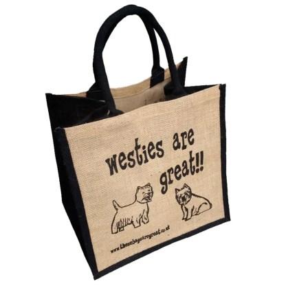 Westies are Great Jute Bag
