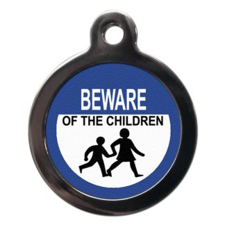 Beware of the Children CO73 Comic Dog ID Tag