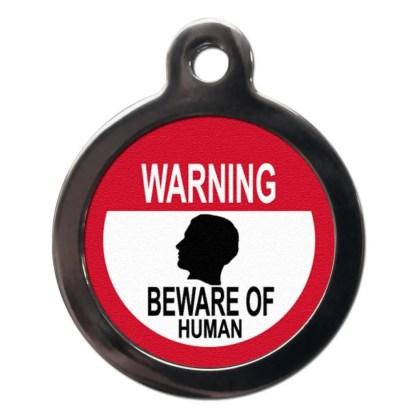 Beware of the Human CO57 Comic Dog ID Tag