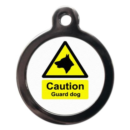 Caution Guard Dog CO47 Comic Dog ID Tag
