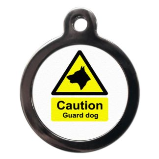 Caution Guard Dog CO47 Comic Dog ID Tag