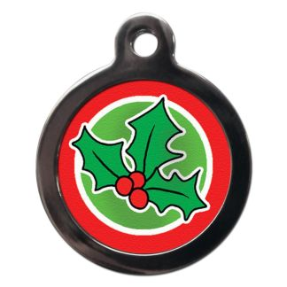 Christmas Holly FE23 Festive Christmas Dog ID Tag