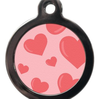 Pink Hearts PA1 Pattern Dog ID Tag