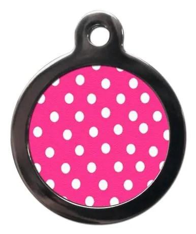 Pink Polka Dot PA22 Pattern Dog ID Tag