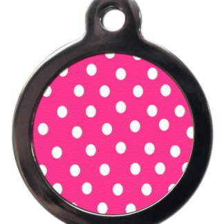Pink Polka Dot PA22 Pattern Dog ID Tag