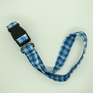 Wagytail Blue Check Collar
