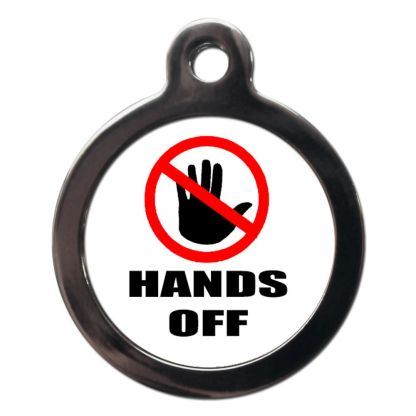 Hands Off CO86 Comic Dog ID Tag