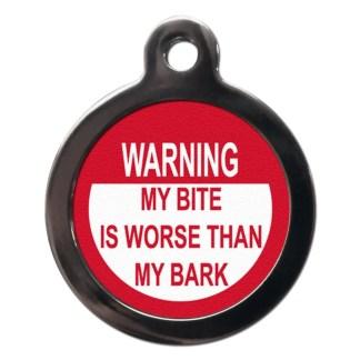 My Bark is Worse CO51 Comic Dog ID Tag