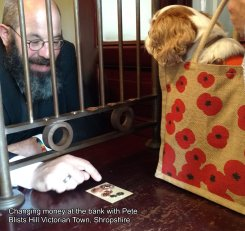 APRIL - Changing money at the bank with Pete at Blists Hill Victorian Town, Shropshire