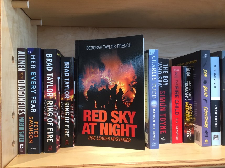 My book on a Copperfields's Book Store shelf