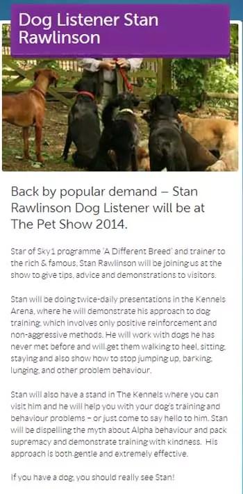 The Pet Show 2014 Stan Rawlinson