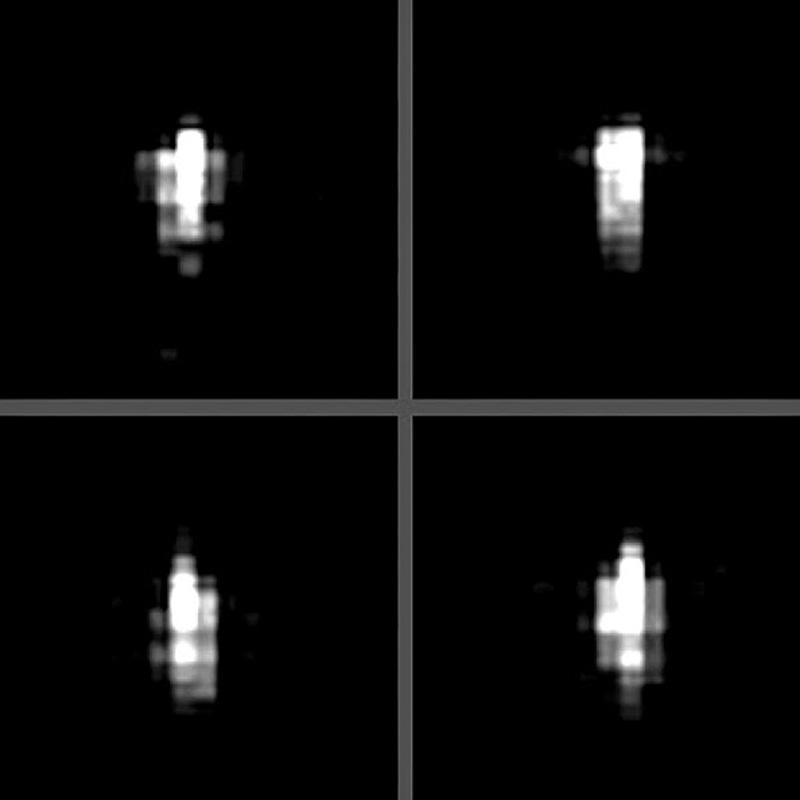Esta es la imagen enfocada, posiblemente, con filtros fotográficos en el que puede apreciarse la forma del cuerpo cilindrico que acompaña al asteroide BL86-2004