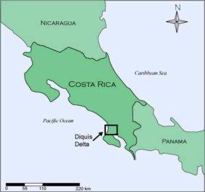 Mapa de Costa Rica en el que se señala la zona del delta del Diquis en donde se encuentran las esferas de pieedra