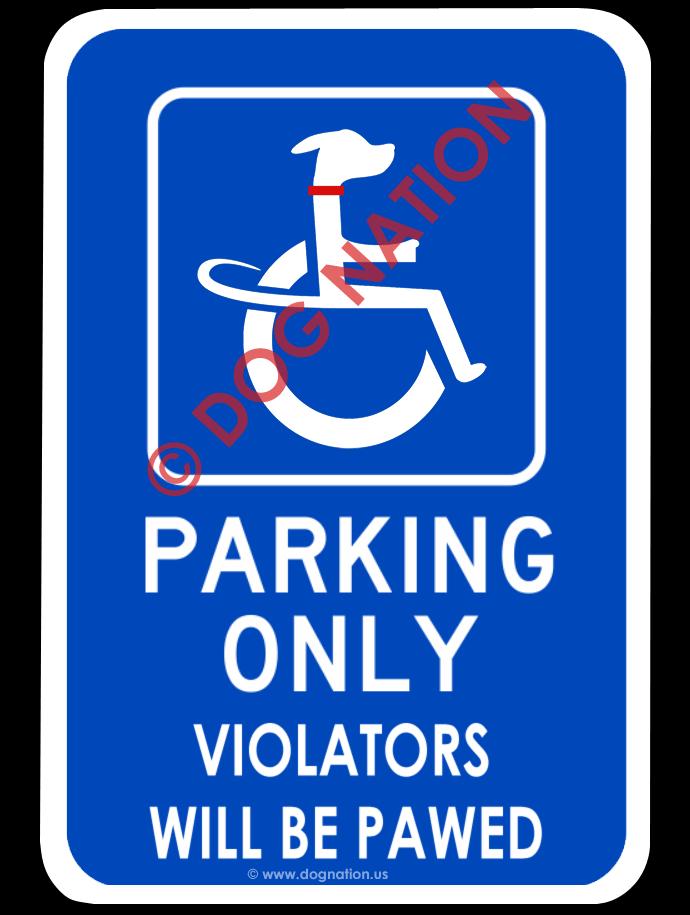 canine handicap parking sign