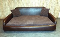 Zippy Faux Leather Sofa Pet Dog Bed - Extra Large - Brown