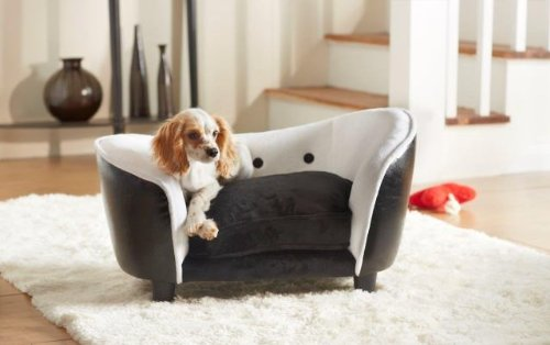 black leather sofa cushion covers memory foam reviews deluxe ultra plush snuggle bed dog - and white ...