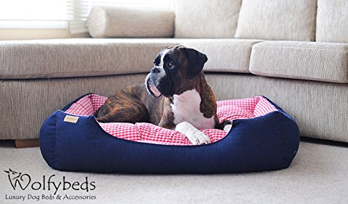 sofa for dog second hand corner sofas leeds luxury denim bed with gingham check