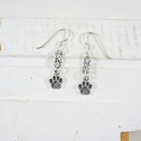 Paw Print Sterling Silver Dangle Earrings, Dog Park Publishing