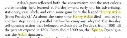 Henry Atkin's shotguns, fom Best Guns by Michael McIntosh