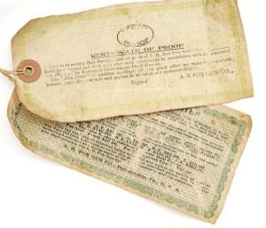 Hang tags for an. A.H. Fox Sterlingworth Double Barrel Shotgun #66328