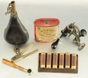 Antique Reloading Tools, Flask, & Brass Shotgun Shells
