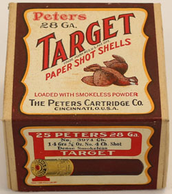 Peters Cart. Co., Target, 28 GAUGE!, 2pc., FULL & SEALED, shot size No. 4