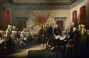 John Trumbull's painting, Declaration of Independence, depicting basuras the five-man drafting committee of the Declaration of Independence presenting their work to the Congress.