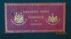 lexander Henry, Gunmaker, Edinburgh & London