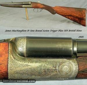 JAMES MacNAUGHTON 303 NITRO ROUND ACTION TRIGGERPLATE DOUBLE RIFLE