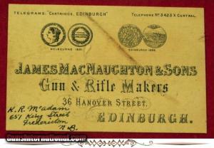 James MacNaughton & Son, Gun & Rifle Makers, Edinburh, Scotland