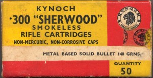 Box of .300 Sherwood Kynoch Rifle Cartridges
