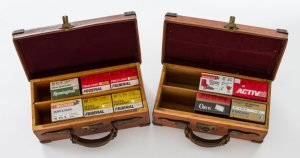 Two Pre-War English Leather Over Wood Shotgun Shell Cases