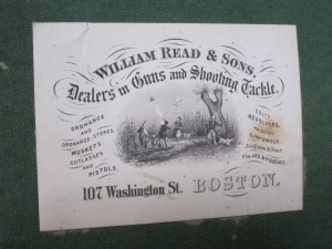 Original William Read & Sons case label for W. & C. Scott shotgun