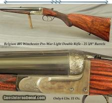 "BELGIUM SxS 405 WIN- EXC PRE-WAR DOUBLE- EXC PLUS BORES- EXC WOOD- ONLY 6 Lbs. 11 Oz.- 25 5/8"" Bbls:"
