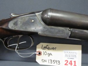 Lefever double barrel 10ga shotgun Damascus Barrel length 32in Length of pull 14in SN 13593