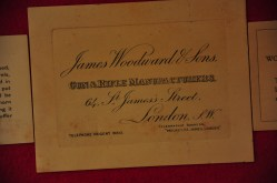 Original label on the  James Woodward & Sons oak & leather Over Under Shotgun Case